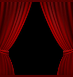 Stage opened red curtain vector