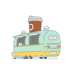 street food cafeteria truck in vector image