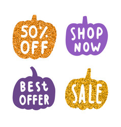 Stylish gold and orange glitter pumpkins labels vector