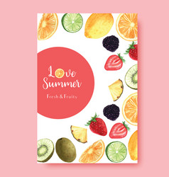 Tropical fruits summer season poster passionfruit vector