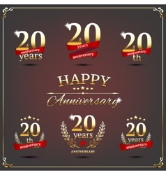 Twenty years anniversary signs collection vector image