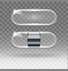 Two realistic empty transparent glass capsule vector