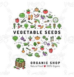 Vegetable seeds banner organic shop natural vector
