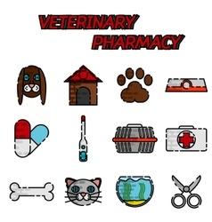 Veterinary pharmacy flat icons set vector