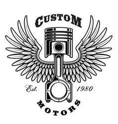 Vintage piston with wings on white background vector