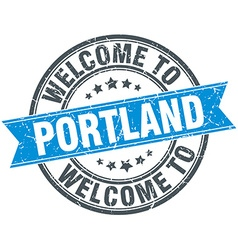 Welcome to Portland blue round vintage stamp vector