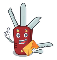 With envelope penknife in a character shape vector
