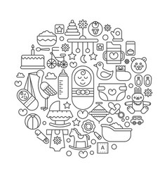 baby care supplies in circle - concept line vector image