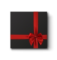 Blank black gift box with red ribbon vector image vector image
