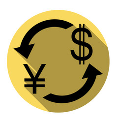 currency exchange sign japan yen and us dollar vector image vector image