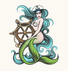 mermaid with steering wheel vector image vector image