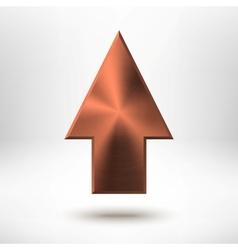 Up Arrow Sign with Bronze Metal Texture vector image vector image