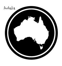 white map of australia on black vector image vector image
