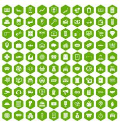 100 coin icons hexagon green vector