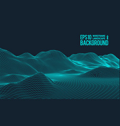 3d wireframe terrain wide angle eps10 vector image
