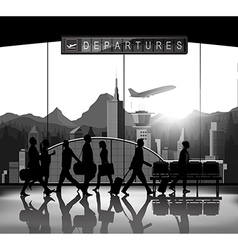 Blank and white Silhouette people with airport bac vector image vector image