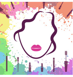 Face of beautiful girl makeup artist fashion vector