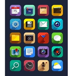 Flat App Icons Set 6 vector image