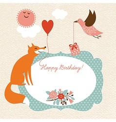 Greeting card fox and bird vector image vector image