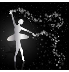 Silver ballerina on dark background vector image
