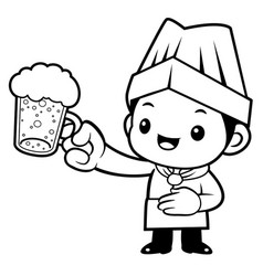 black and white head cook mascot is holding a vector image vector image