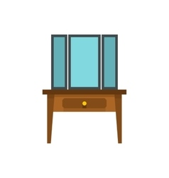 Chest of drawers with mirror icon flat style vector image
