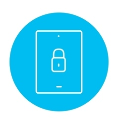 Digital tablet security line icon vector image