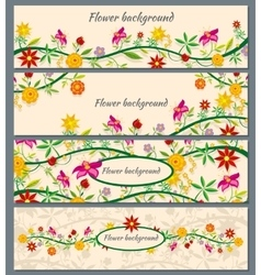 Floral banners set with flowers vector image vector image