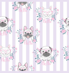 funny girlish seamless pattern with cute kitty vector image
