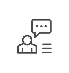 person speech line icon vector image