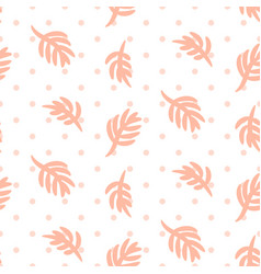pink palm leaves on polka dot white seamless vector image vector image