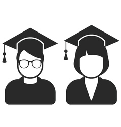 Students in mortarboard hats - graduating students vector image vector image