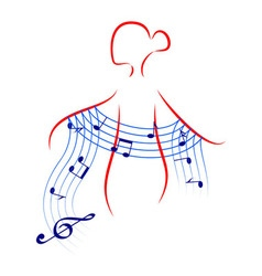 beautiful young woman with music shawl vector image