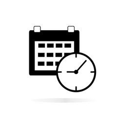calendar clock icon on white background calendar vector image vector image