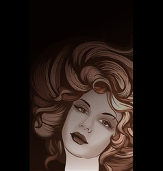 Retro style woman portrait vector image vector image