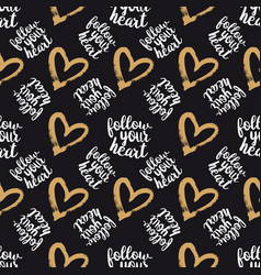 seamless pattern from hearts on black vector image vector image