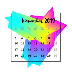 2019 calendar design concept november 2019 vector image