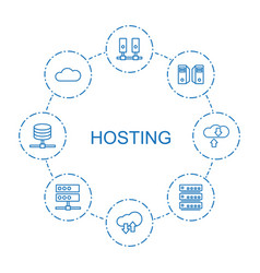 8 hosting icons vector