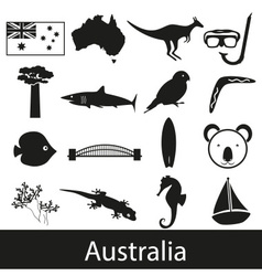 Australia country theme symbols stickers set eps10 vector