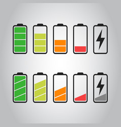 battery icon set isolated on gray background vector image