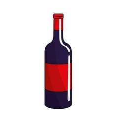 Bottle wine tasty liquor beverage vector