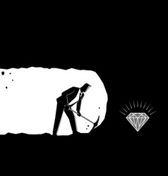 Businessman digging and mining to find treasure vector