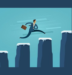 businessman jumping on chart columns successful vector image
