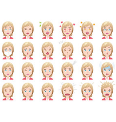 businesswoman various facial expressions set vector image