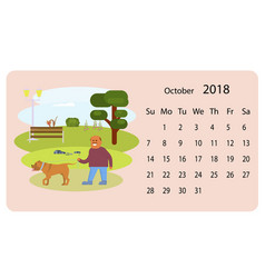 calendar 2018 for oktober vector image