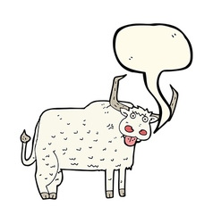 Cartoon hairy cow with speech bubble vector