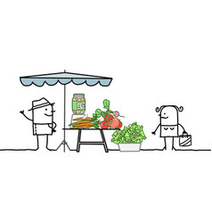 cartoon producer selling organic vegetables vector image