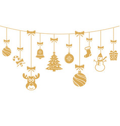christmas golden ornaments hanging merry vector image