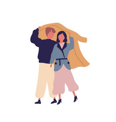 Couple together under raincoat flat vector