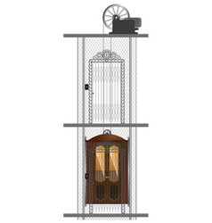 detailed image of an old metal elevator in a vector image